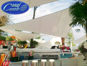 Awning canopy over the bar