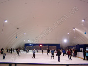 "The ice rink of the recreation park ""Gorodok"" inside"