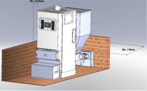 Розміщення твердопаливного котла PEL 20-100 в приміщенні