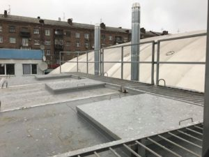 Roof of boiler room admin building and tennis courts