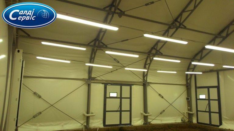 LED освещение тентового ангара в Мошурове