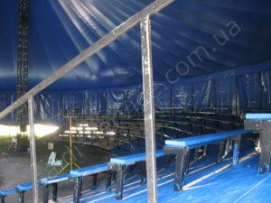 Металоконструкція і тенту накриття цирку Шапіто в Києві всередині