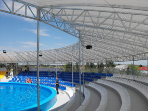 Metal construction and tent covering of the NEMO Dolphinarium in the Berdyansk stands