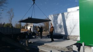 Монтаж основи під металеву опорну щоглу для димоходу в Жулянах
