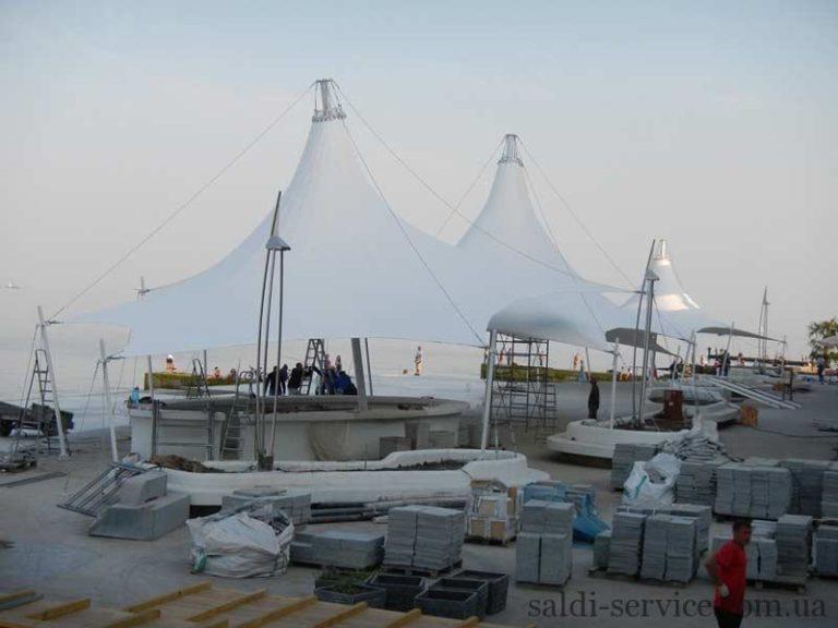 Монтаж тентовых конструкций на берегу Одесса