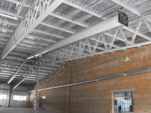 Ventilation installation in warehouses