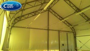 Lamps in a tent hangar
