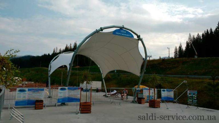 Тентовое сооружение арочной формы в Буковеле