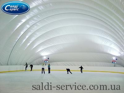 The ice rink is covered with an air support structure
