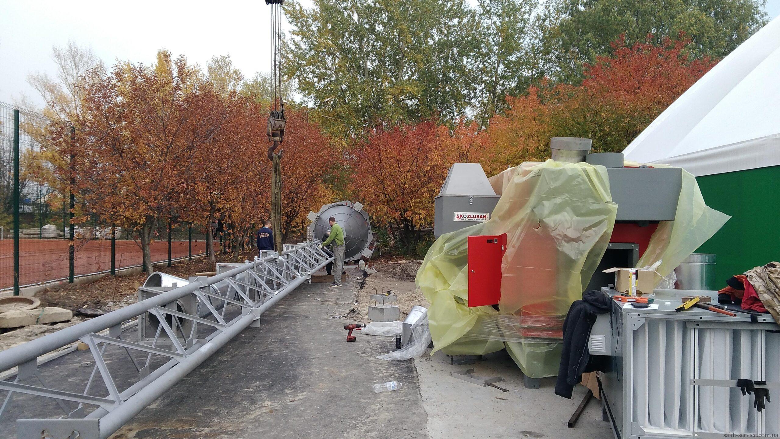 Монтаж пелетного воздушного теплогенератора и опорной мачты-1