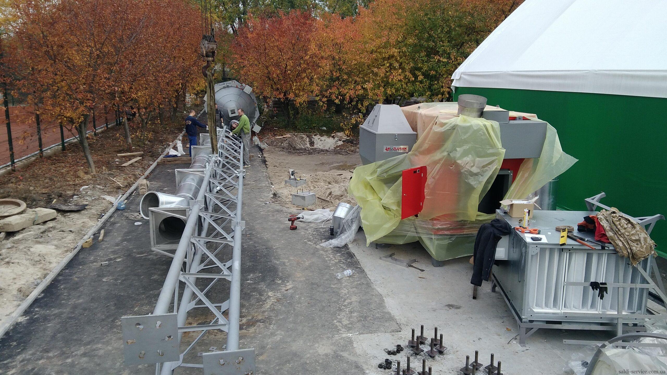 Монтаж пелетного воздушного теплогенератора и опорной мачты-2