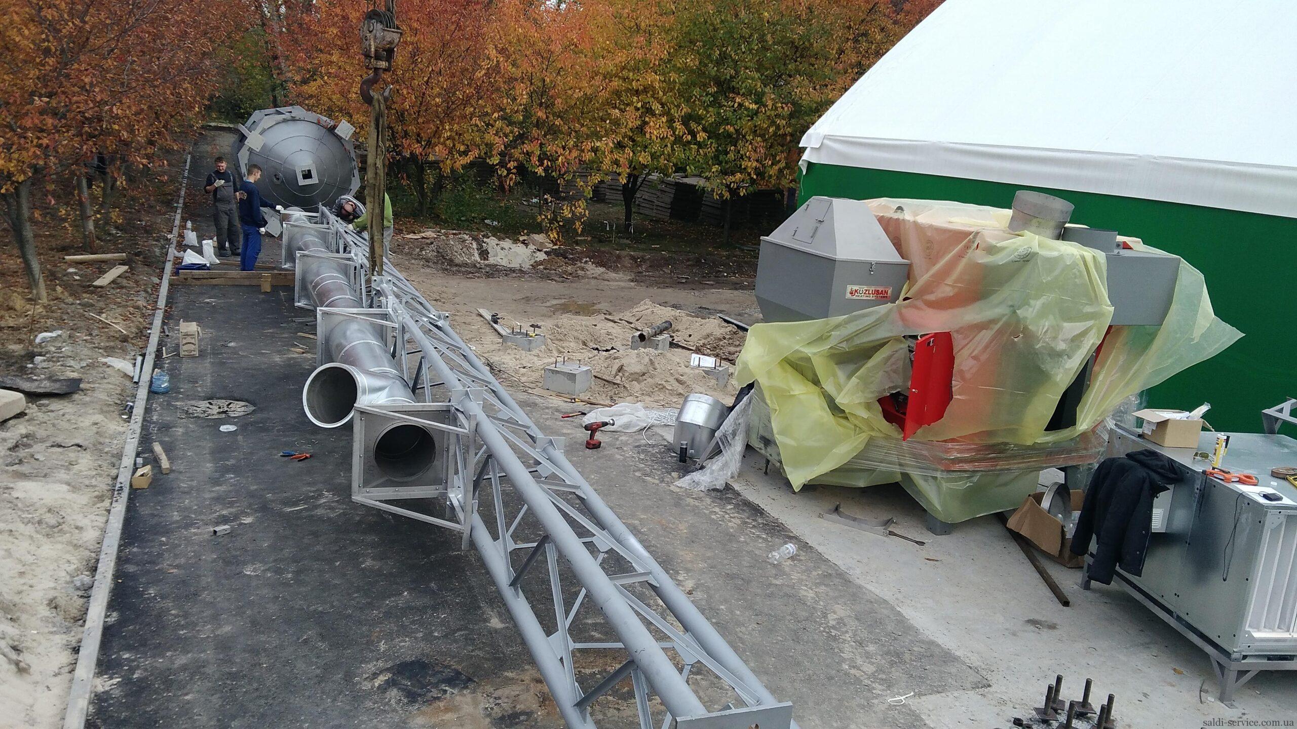 Монтаж пелетного воздушного теплогенератора и опорной мачты-3