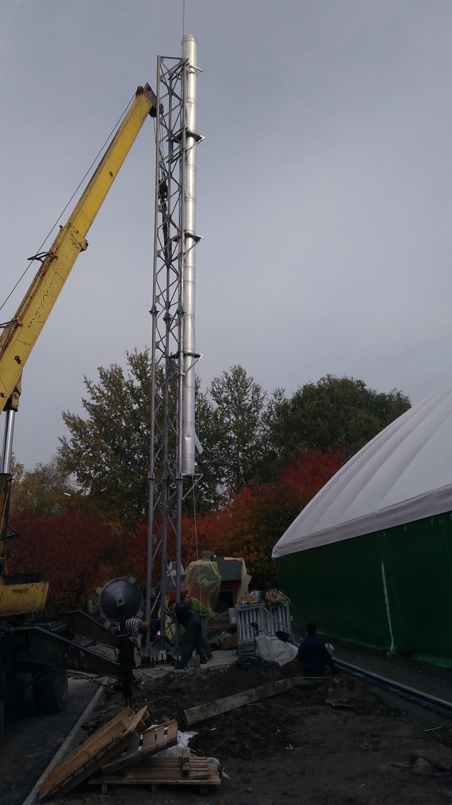 Монтаж пелетного воздушного теплогенератора и опорной мачты-6