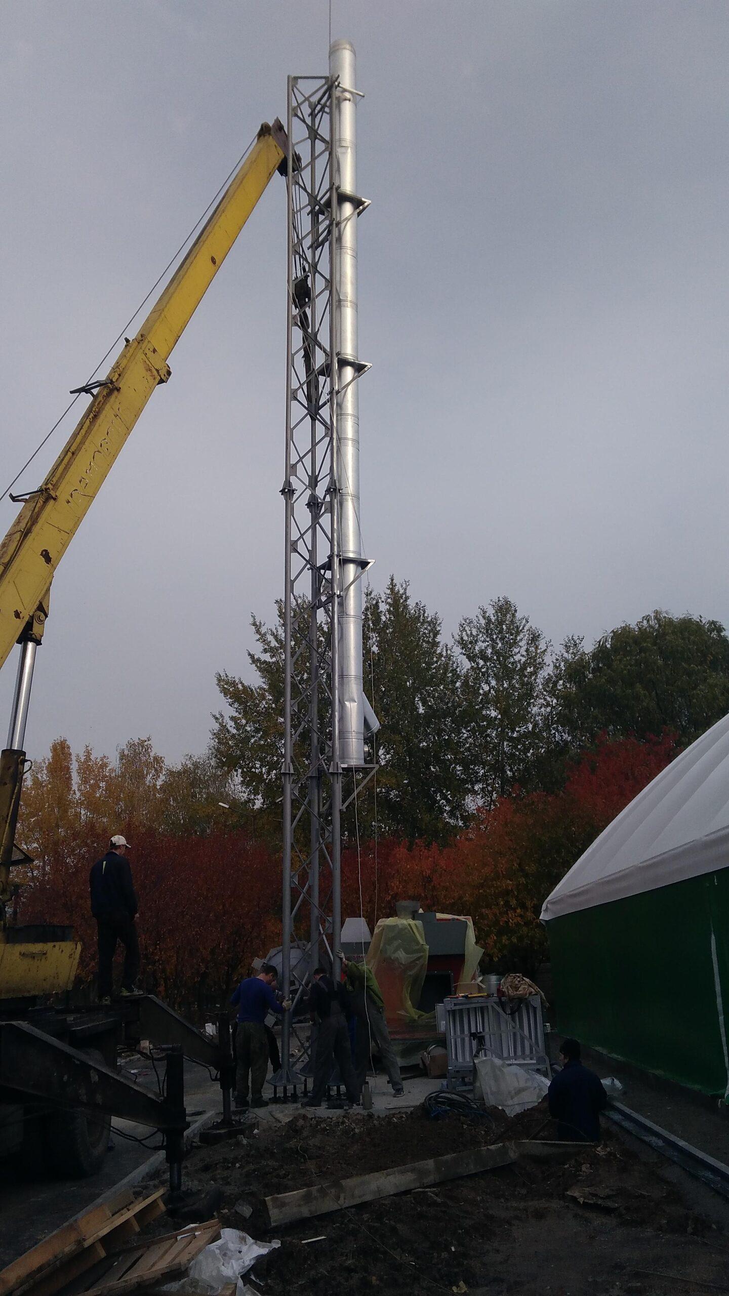 Монтаж пелетного воздушного теплогенератора и опорной мачты-7