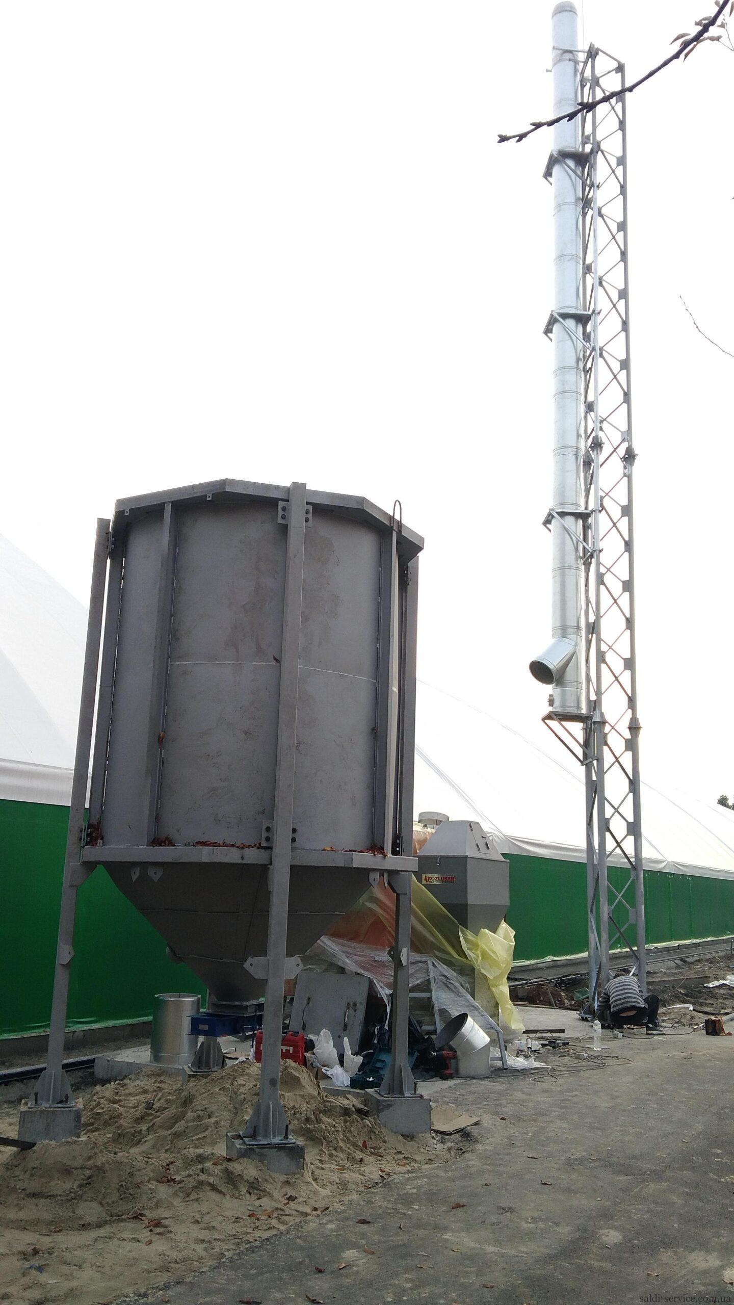 Монтаж пелетного воздушного теплогенератора и опорной мачты-8