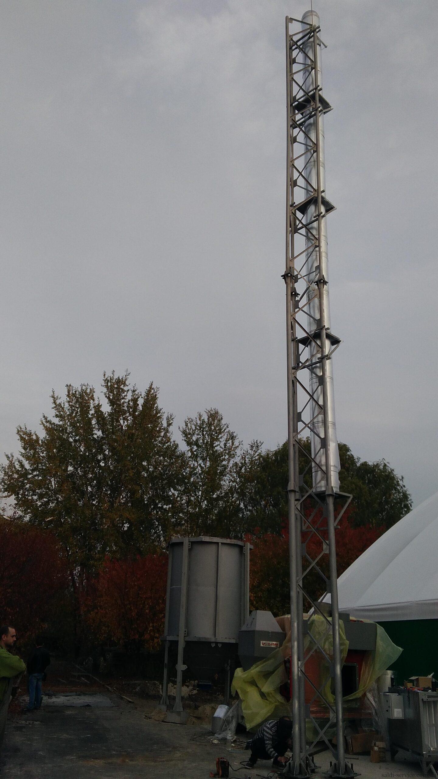 Монтаж пелетного воздушного теплогенератора и опорной мачты-9