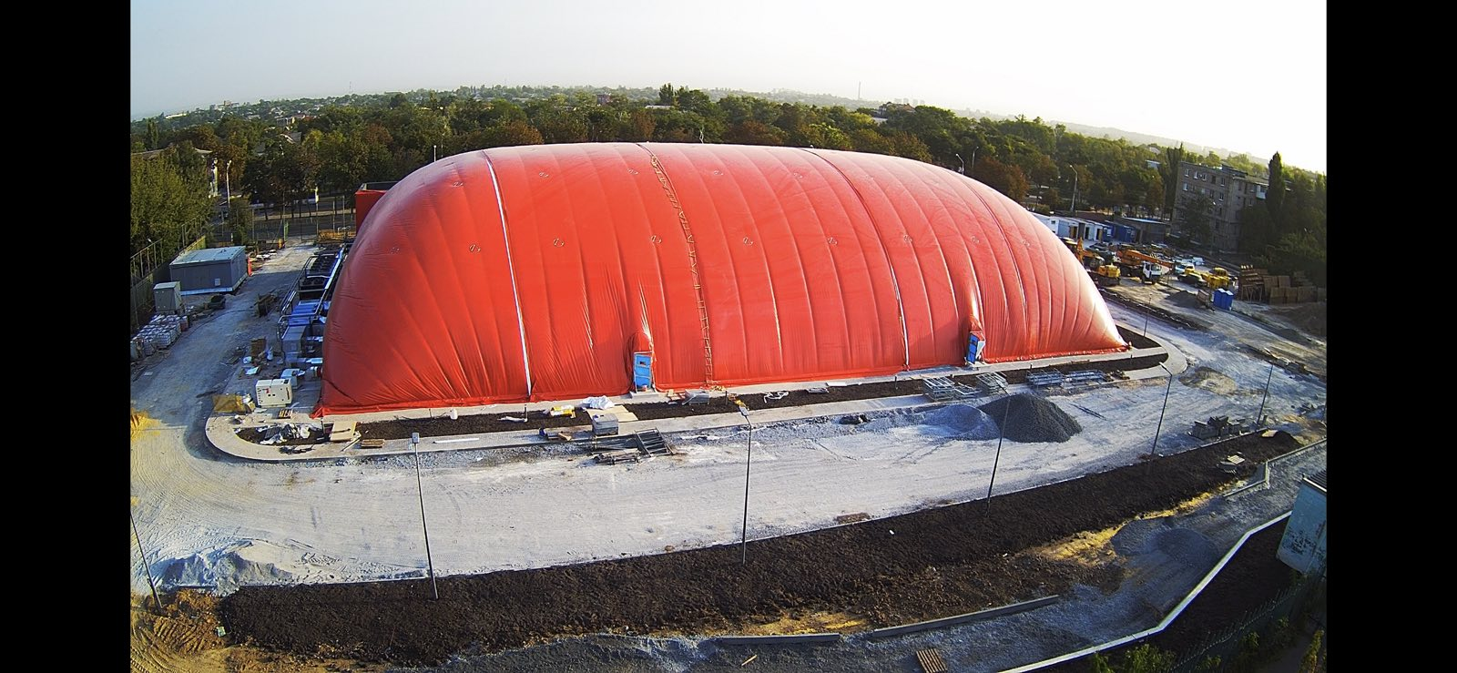 Completed the installation of an air-supported dome structure in Mariupol to cover the ice rink